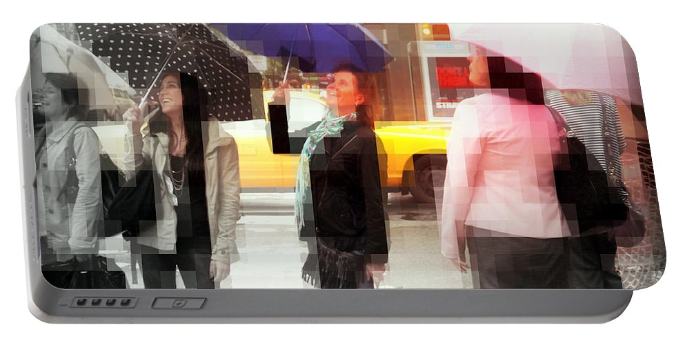 Fun Portable Battery Charger featuring the photograph Rainy Day In The City - Blue Pink And Polka Dots by Miriam Danar