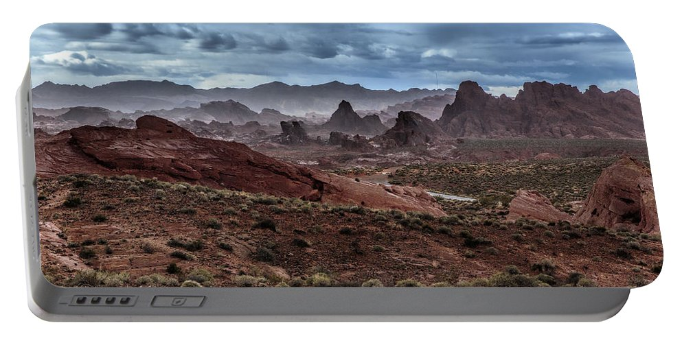 Valley Of Fire Portable Battery Charger featuring the photograph Rainy Day In The Desert by Rick Berk