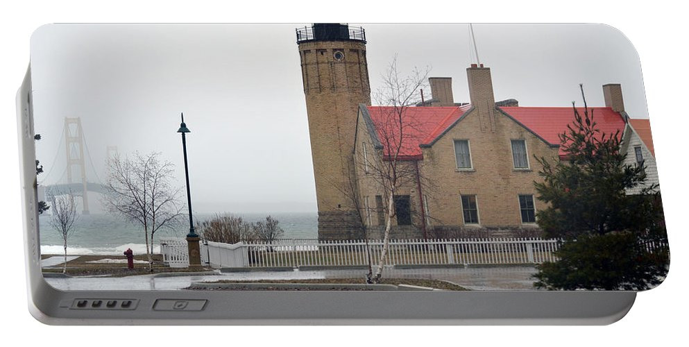 Mackinaw Point Lighthouse Portable Battery Charger featuring the photograph Rainy Day by Linda Kerkau