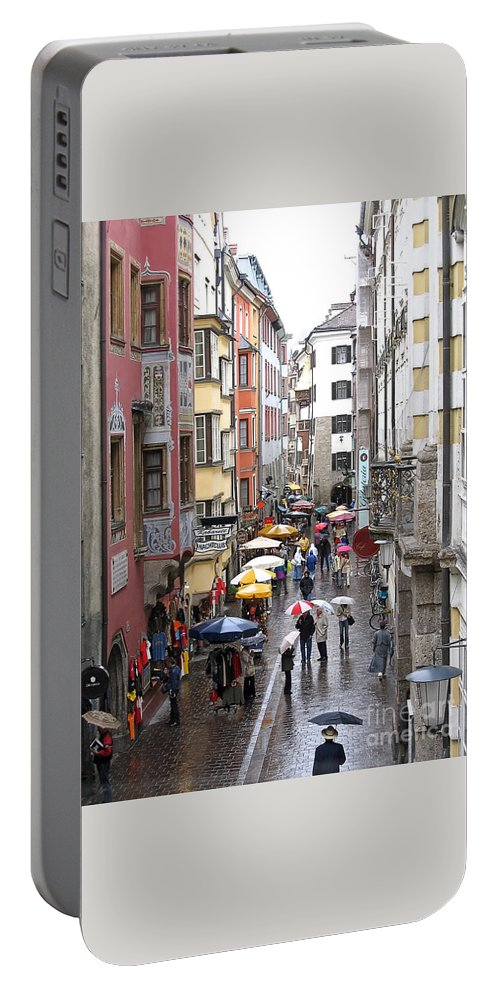 Innsbruck Portable Battery Charger featuring the photograph Rainy Day Shopping by Ann Horn