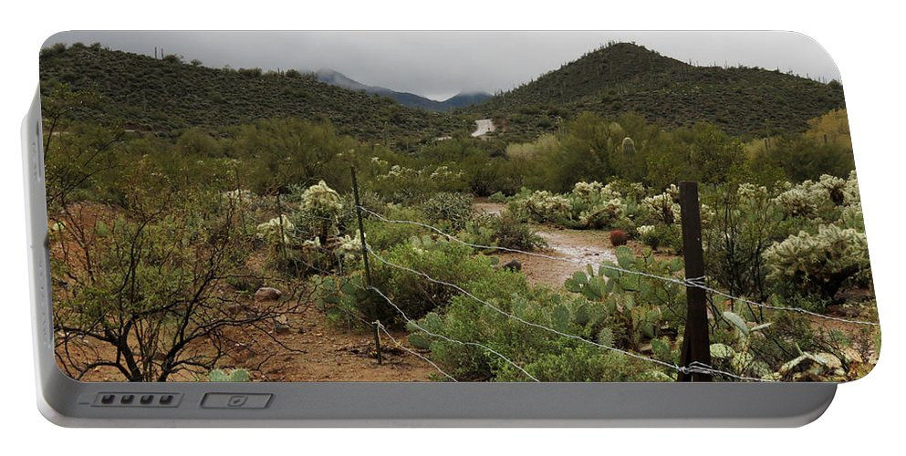 Arizona Portable Battery Charger featuring the photograph Rainy Desert by Laurel Powell