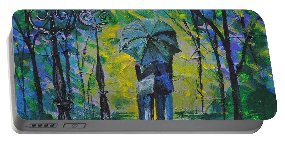 Rainy Night Portable Battery Charger featuring the painting Rainy Night by Sally Rice