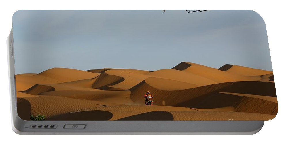 Rally Dakar Argentina-chile-argentina. In The Picture Marc Coma (nº2) Portable Battery Charger featuring the photograph Rally Dakar by Paul Fearn