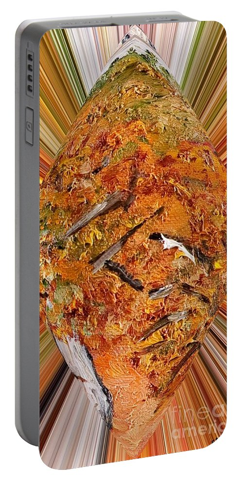 Abstract Portable Battery Charger featuring the painting Rami by Loredana Messina