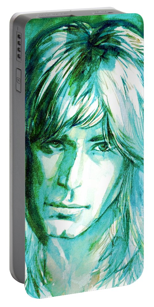 Randy Portable Battery Charger featuring the painting Randy Rhoads Portrait by Fabrizio Cassetta