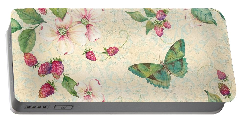 Acrylic Painting Portable Battery Charger featuring the painting Raspberry Bliss by Jean PLout