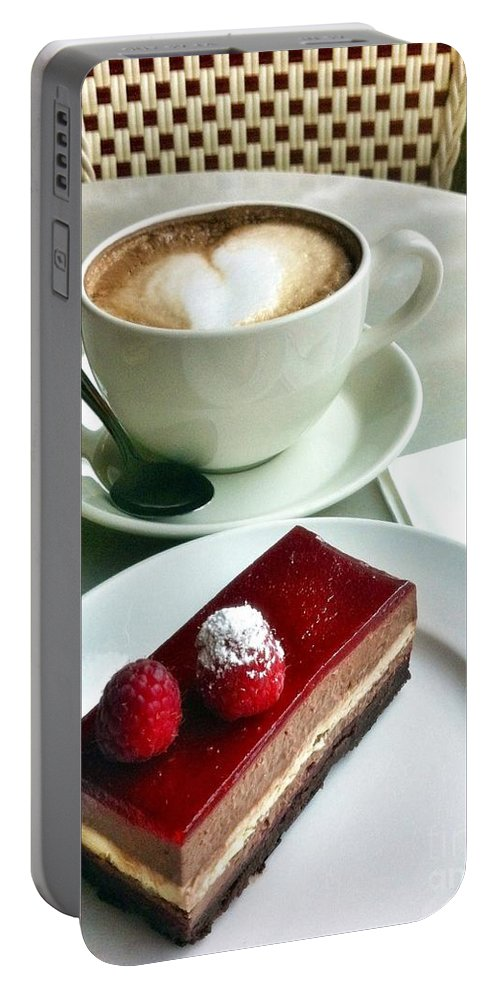 Coffee Portable Battery Charger featuring the photograph Raspberry Delice And Latte by Susan Garren