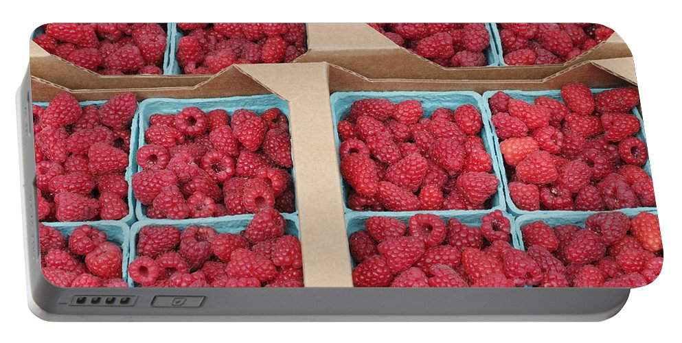 Raspberry Portable Battery Charger featuring the photograph Raspberry Pints In Cardboard Flats by Lee Serenethos