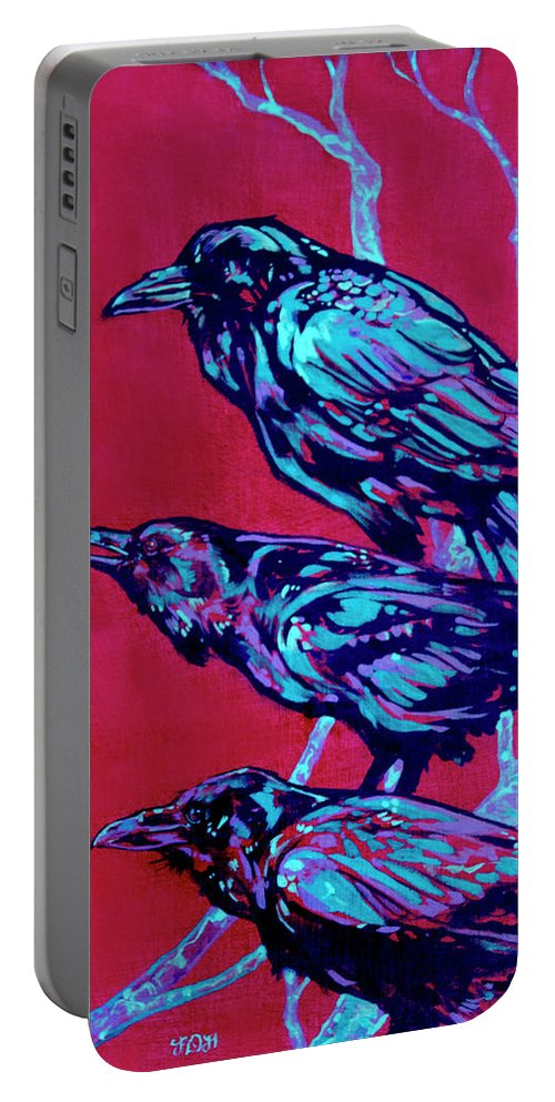 Contemporary Art Portable Battery Charger featuring the painting Raven by Derrick Higgins