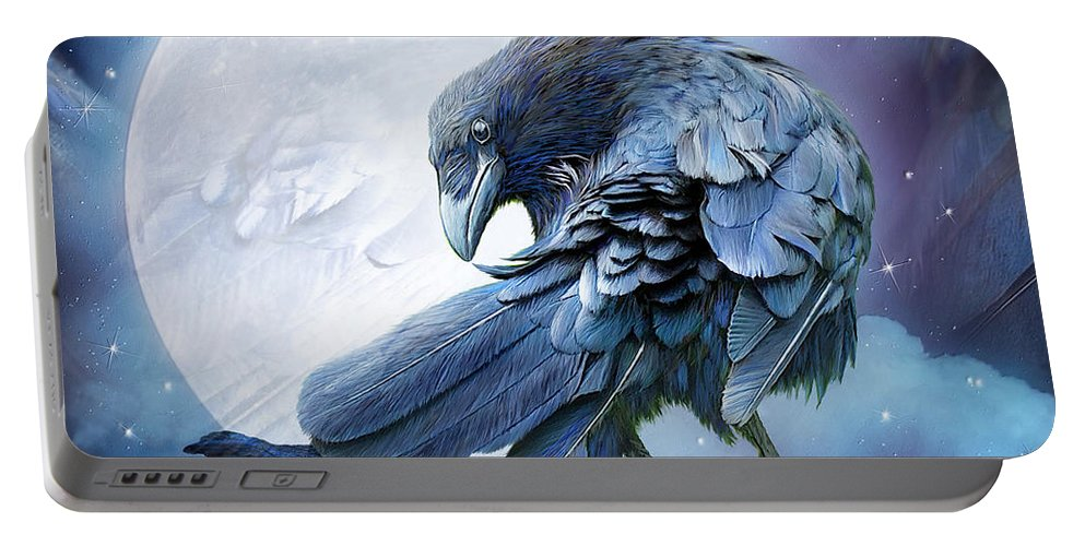 Raven Portable Battery Charger featuring the mixed media Raven Moon by Carol Cavalaris