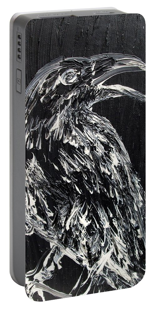 Raven Portable Battery Charger featuring the painting Raven On The Branch - Oil Painting by Fabrizio Cassetta
