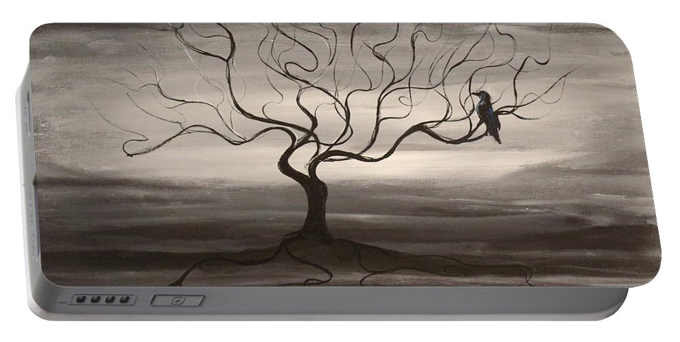 Raven Portable Battery Charger featuring the painting Raven Sonatta by Stefan Duncan