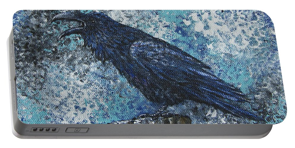 Raven Portable Battery Charger featuring the painting Raven Study 3 by Dee Carpenter