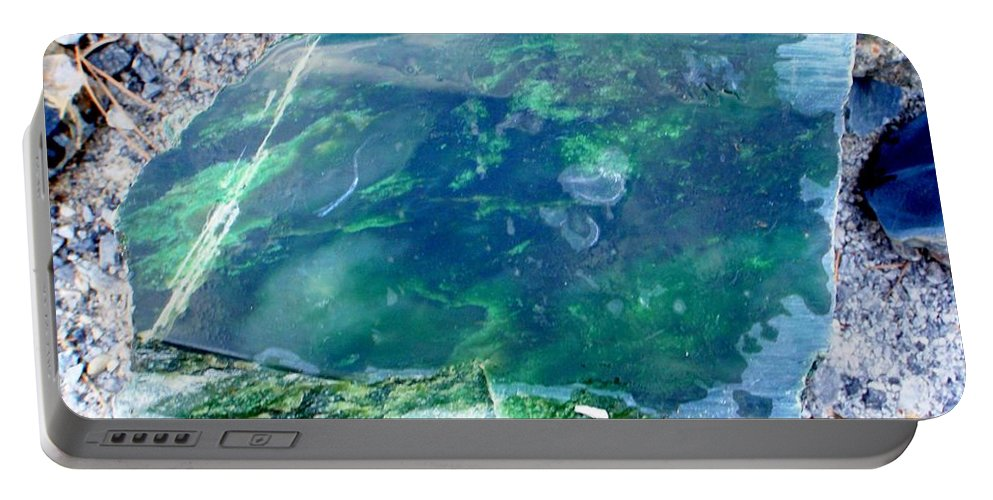 Jade Portable Battery Charger featuring the photograph Raw Jade Rock by Mary Deal