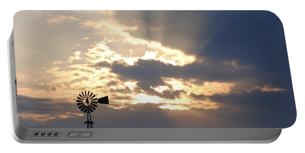 Windmill Portable Battery Charger featuring the photograph Rays Behind The Mill by Eric Liller