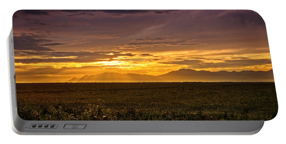 Sunset Portable Battery Charger featuring the photograph Rays Of Hope by Saija Lehtonen
