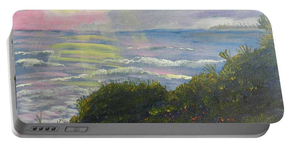 Impressionism Portable Battery Charger featuring the painting Rays Of Light At Burliegh Heads by Pamela Meredith