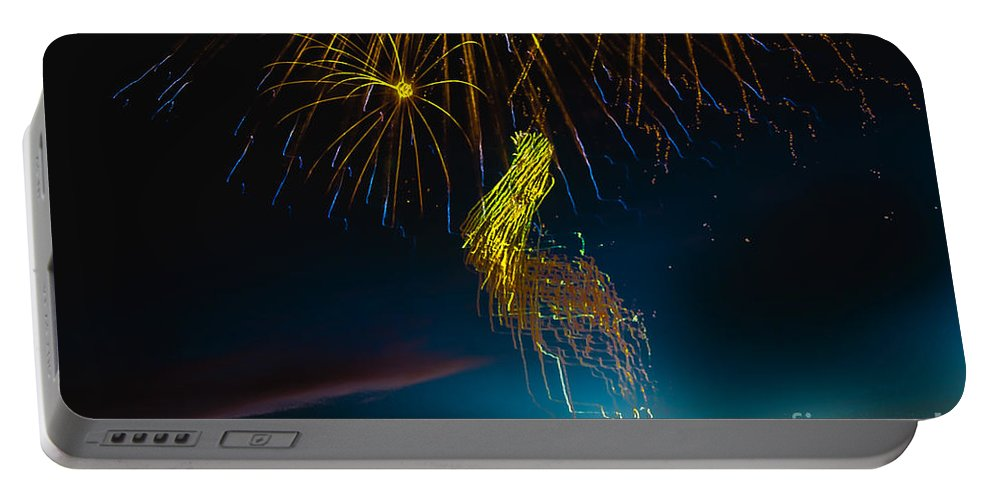 Fireworks Portable Battery Charger featuring the photograph Rays Of Light From Above by Robert Bales