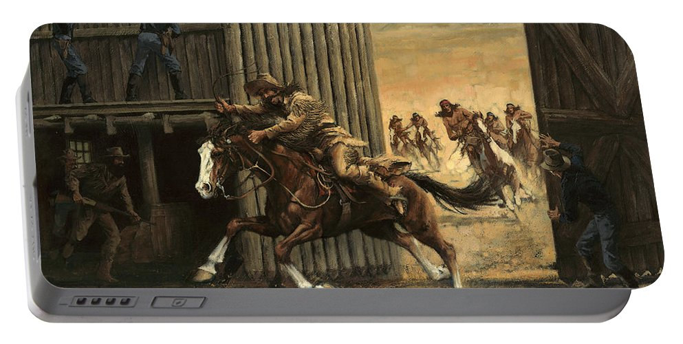 Reclosing Fort Portable Battery Charger featuring the painting Re-closing Frontiersmen Coming Into The Fort by Don Langeneckert