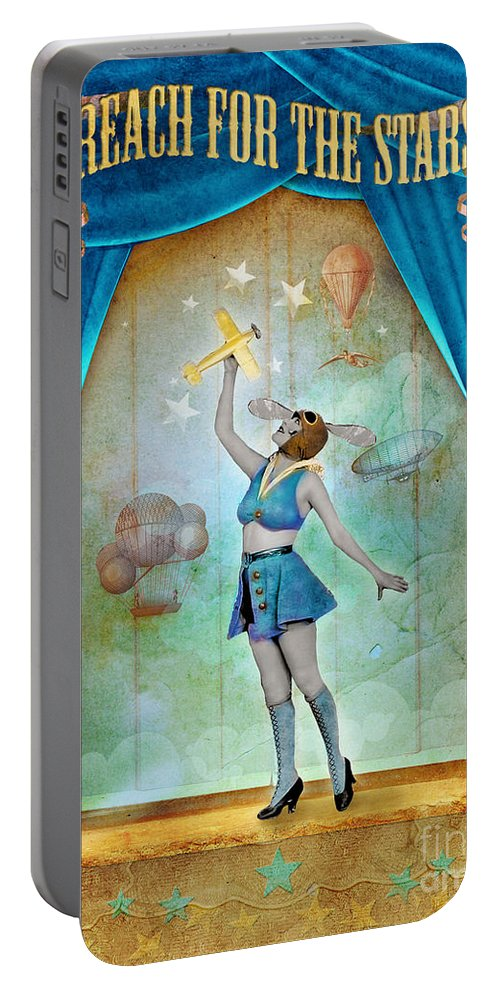 Aimee Stewart Portable Battery Charger featuring the digital art Reach For The Stars by MGL Meiklejohn Graphics Licensing