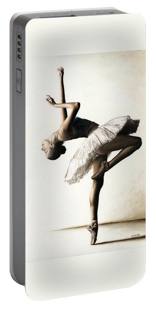 Dancer Portable Battery Charger featuring the painting Reaching for Perfect Grace by Richard Young