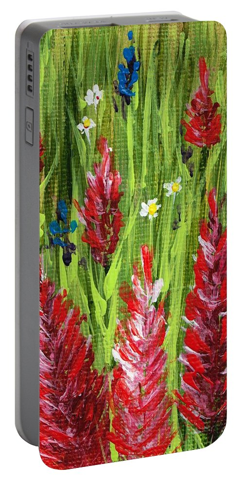 Grass Portable Battery Charger featuring the painting Reaching Up by Anastasiya Malakhova