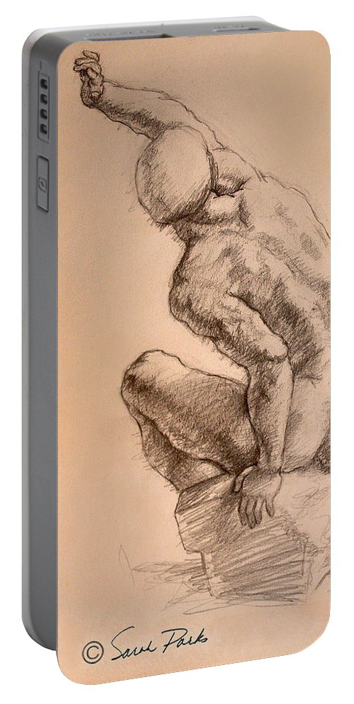 Figurative Portable Battery Charger featuring the drawing Reaching Up by Sarah Parks