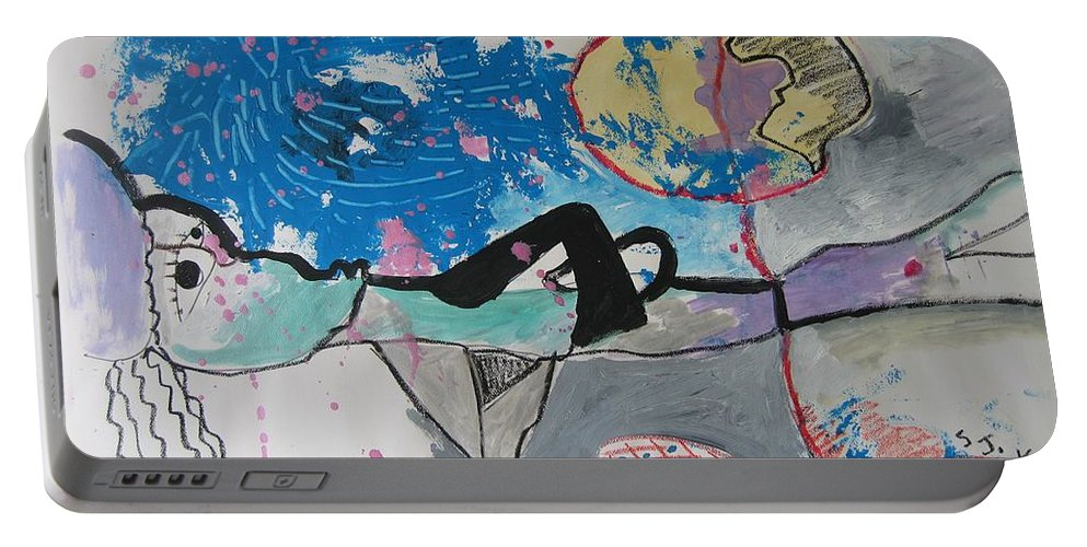Abstract Paintings Portable Battery Charger featuring the painting Read My Mind2 by Seon-Jeong Kim