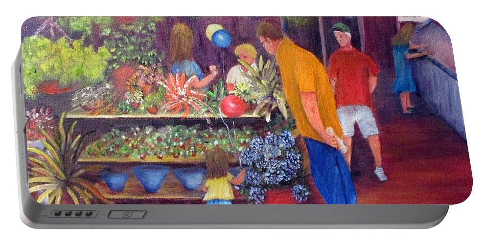 Market Portable Battery Charger featuring the painting Reading Terminal Market Flowers by Loretta Luglio