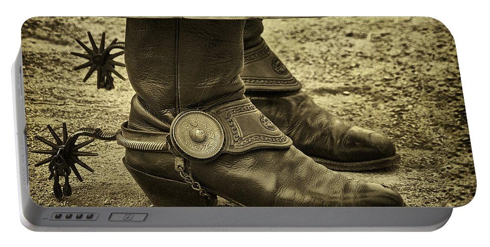 Boots Portable Battery Charger featuring the photograph Ready To Ride by Priscilla Burgers