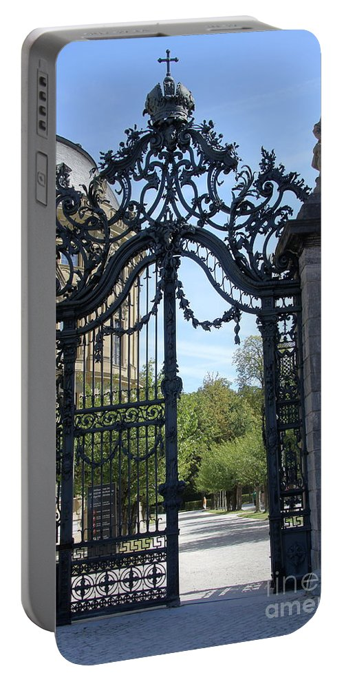 Gate Portable Battery Charger featuring the photograph Recidence Garden Gate - Wuerzburg by Christiane Schulze Art And Photography