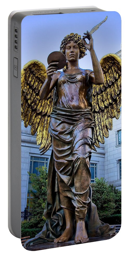 Schermerhorn Portable Battery Charger featuring the photograph Recording Angel by Diana Powell