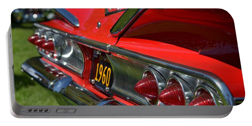 Red Portable Battery Charger featuring the photograph Red 1960 Chevy by Dean Ferreira