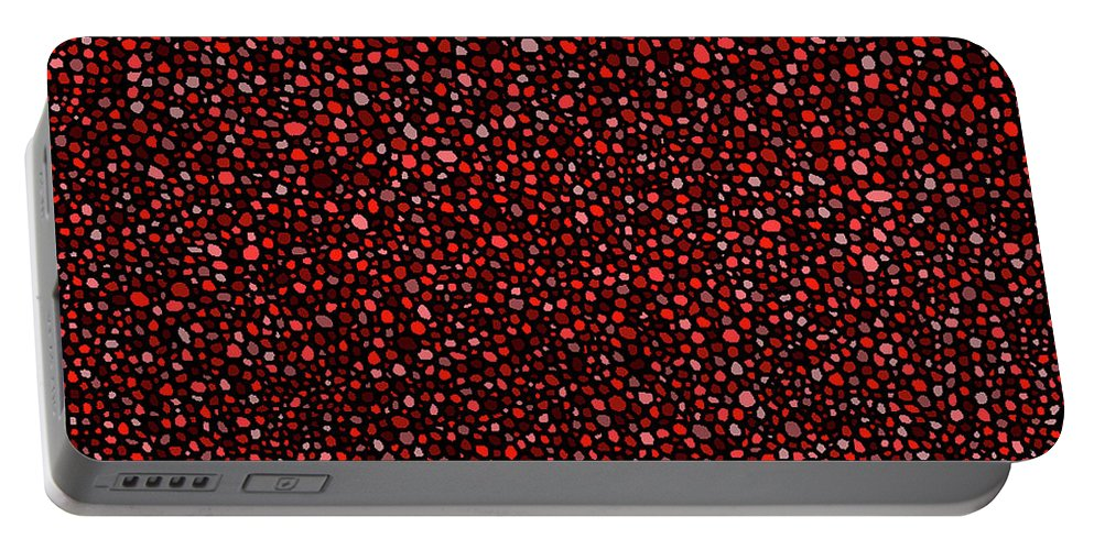 Red Portable Battery Charger featuring the digital art Red And Black Circles by Janice Dunbar