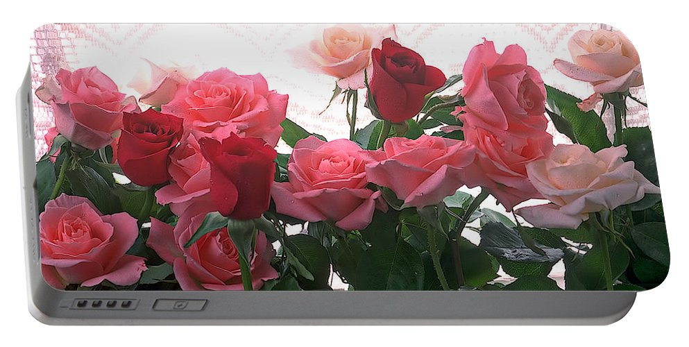 Rose Portable Battery Charger featuring the photograph Red And Pink Roses In Window by Garry Gay