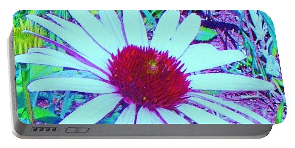 Red Portable Battery Charger featuring the photograph Red And White Flower by Eric Schiabor