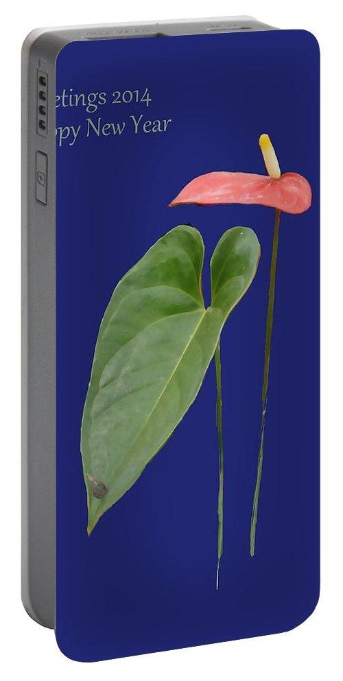 Red Anthurium Greeting Portable Battery Charger featuring the painting Red Anthurium Greeting by Usha Shantharam