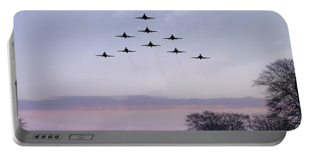 Royal Air Force Portable Battery Charger featuring the digital art Red Arrows Winter Training by J Biggadike