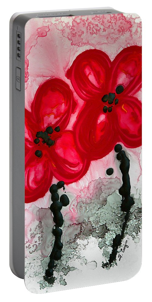 Red Asian Poppies Portable Battery Charger featuring the painting Red Asian Poppies by Sharon Cummings