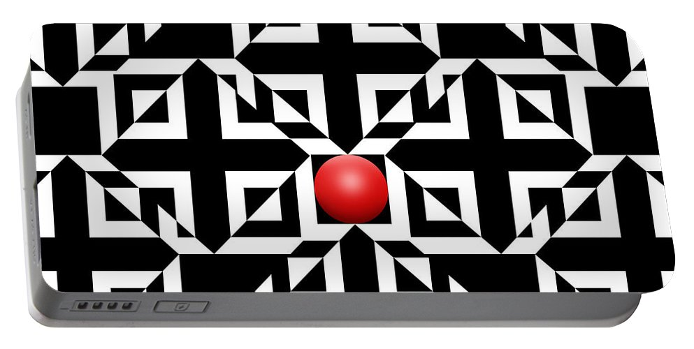 Abstract Portable Battery Charger featuring the digital art Red Ball 5 by Mike McGlothlen