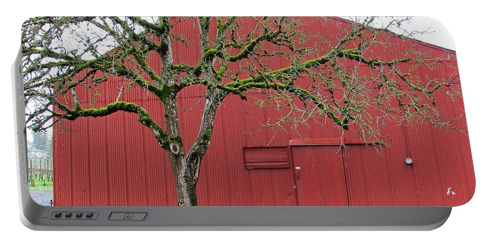 Dundee Hills Portable Battery Charger featuring the photograph Red Barn And Green Tree In Dundee Hills Oregon Wine Country by Elizabeth Rose