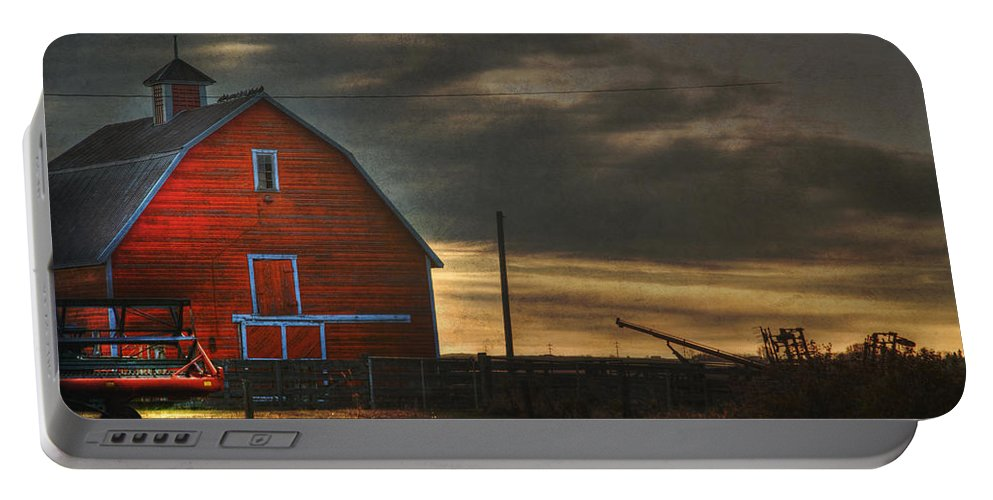 Red Barn Portable Battery Charger featuring the photograph Red Barn At Dawn by Lisa Knechtel