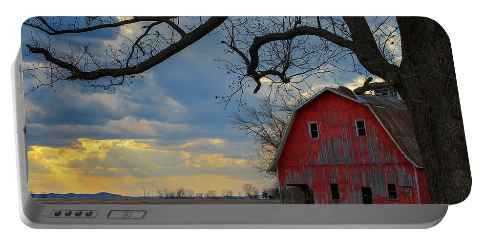 Barn Portable Battery Charger featuring the photograph Red Barn At Sunset by Wanda Parsons