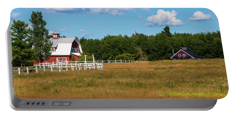 Photography Portable Battery Charger featuring the photograph Red Barn In Meadow, Knowlton, Quebec by Panoramic Images