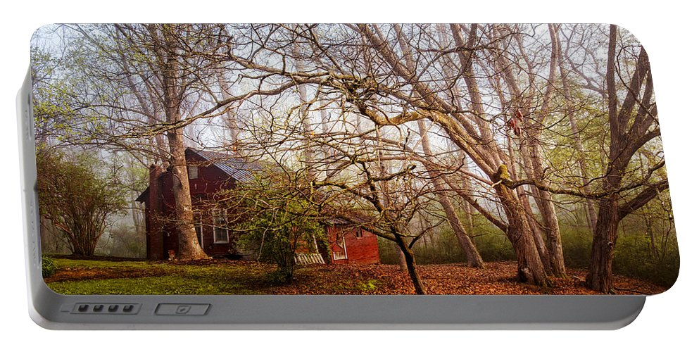 Appalachia Portable Battery Charger featuring the photograph Red Barn In The Smokies by Debra and Dave Vanderlaan