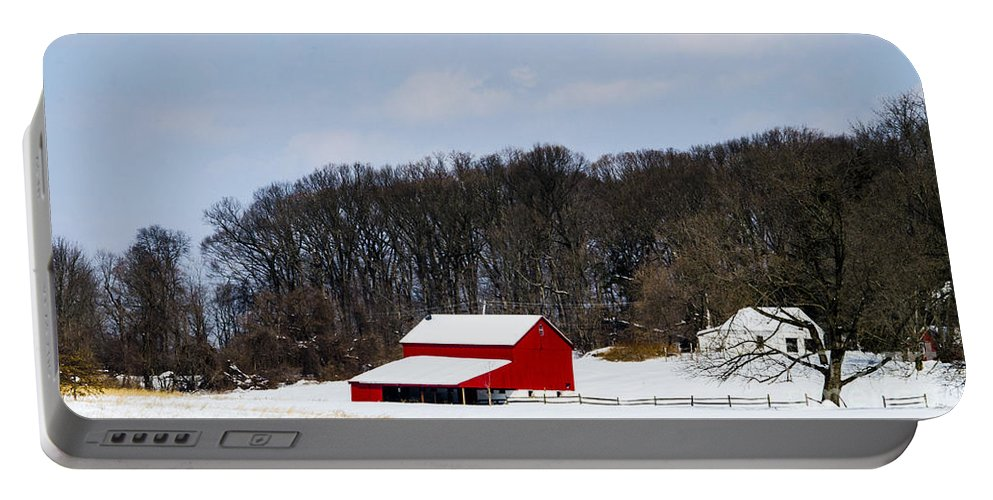 Barn Portable Battery Charger featuring the photograph Red Barn In The Snow by Judy Wolinsky
