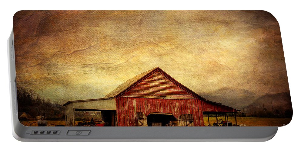 Barn Portable Battery Charger featuring the photograph Red Barn by Joan McCool