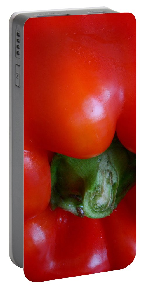 Pepper Portable Battery Charger featuring the photograph Red Bell Pepper by Joe Kozlowski