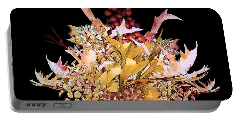 Flowers Portable Battery Charger featuring the digital art Red Berries by Paul Gentille