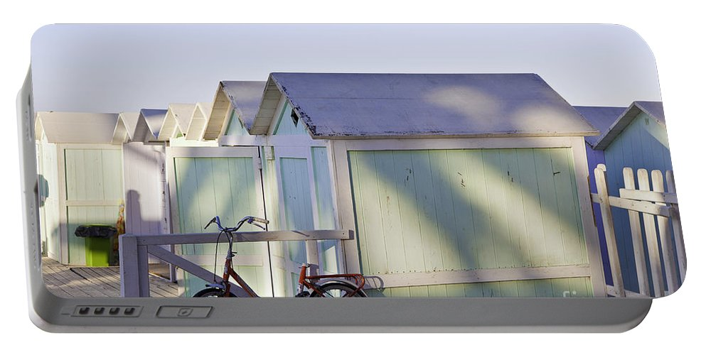 Cabana Portable Battery Charger featuring the photograph Red Bicycle At Mondello Beach by Madeline Ellis